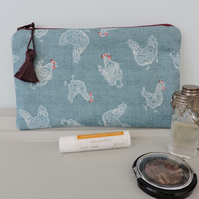 Make Up Bag, Zipped Pouch Chickens