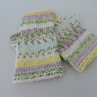 Knitted Fingerless Mittens Gloves  Aqua Lilac Yellow Grey Green White Fair Isle