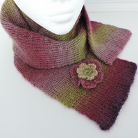 Knitted Scarf  Purple Heather Magenta Green and Pink