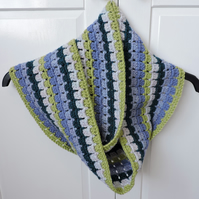 Infinity Scarf  Blue Petrel Pearl and Lime
