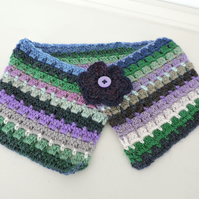 Crochet Cowl, Neck Warmer Snood Blue Green Lavender