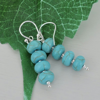 Drop Earrings Turquoise Rondelle Beads with Silver Spacer Beads