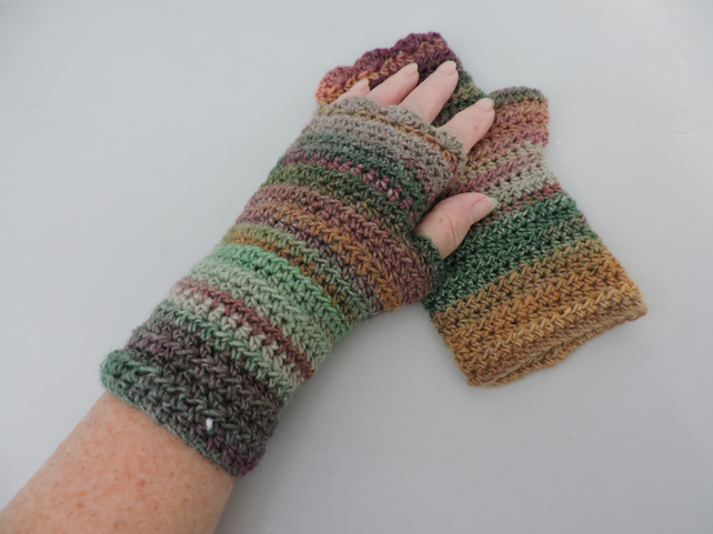 Fingerless Mitts   Autumn Earthy Colours