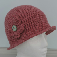 Crochet Cloche Hat Rose Pink