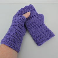 Sale now 5.00 Fingerless Mitts  Violet  100% Acrylic