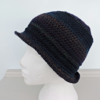 Crochet Cloche Hat Dark Midnight Blue Rainbow