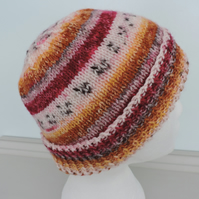 Beanie Hat Knitted in a Fair Isle Style Autumn Colours