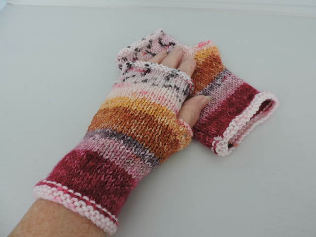 Knitted Fingerless Mittens Fair Isle Style Autumn