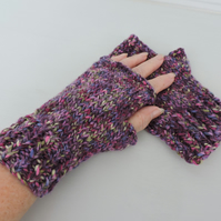 Chunky Knit Fingerless Mitts  Purple