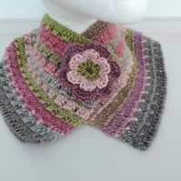 Crochet Cowl, Neck Warmer Snood Green Pink and Grey