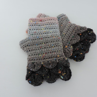 Dragon Scale Cuff Fingerless Mitts Black Charcoal Grey Hint of Pink