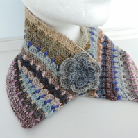 Crochet Cowl, Neck Warmer Snood Taupe, Cream, Blue, Slate