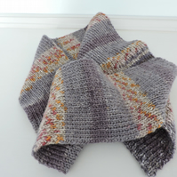 Knitted Scarf Fair Isle Style Grey Rust Mustard and Cream