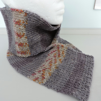 Knitted Scarf Fair Isle Style Grey Rust Mustard and Cream Unisex