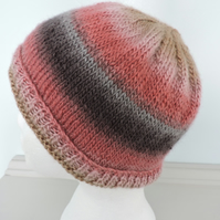 Beanie Hat  Rusty Red  Pink  Caramel  Charcoal Hand Knitted