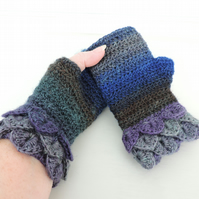 Fingerless Dragon Scale Cuffs Mitts  Sapphire Blue Sea Green Purple and Grey