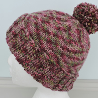 Bobble Hat  Pink Raspberry Claret and Green Hand Knitted