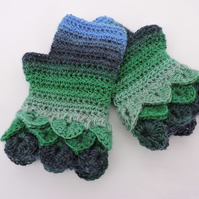 Fingerless Dragon Scale Cuffs Mitts  Green and Blue