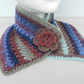 Sale now 8.00 Crochet Cowl, Neck Warmer Snood Blue Rust Purple Taupe