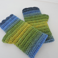 Crochet Fingerless Mitts  Green Yellow and Blue