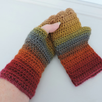 Crochet Fingerless Mitts  100% Acrylic Bright and Breezy