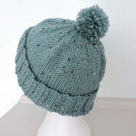 Bobble Hat Hand Knitted Dusky Turquoise Tweed