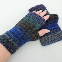 Crochet Fingerless Mitts  Blue Grey Bronze Sea Green and Aubergine