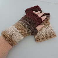 Crochet Fingerless Mitts  100% Acrylic Burgundy Brown Coffee and Cream