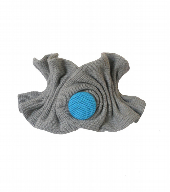 SALE  Small Ruffled Collar Scarf - Grey and Turquoise (Free UK Shipping)
