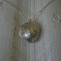 Silver clam sea shell pendant