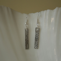 Silver textured rectangle earrings