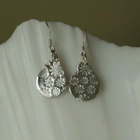 Silver floral tear drop earrings