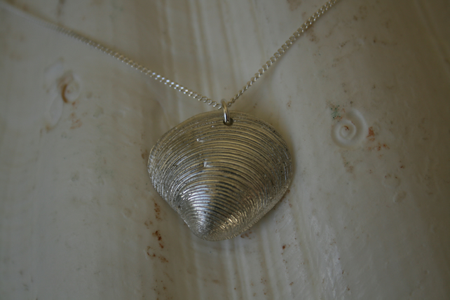 Large silver sea shell pendant