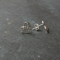 Heart of hearts silver stud earrings