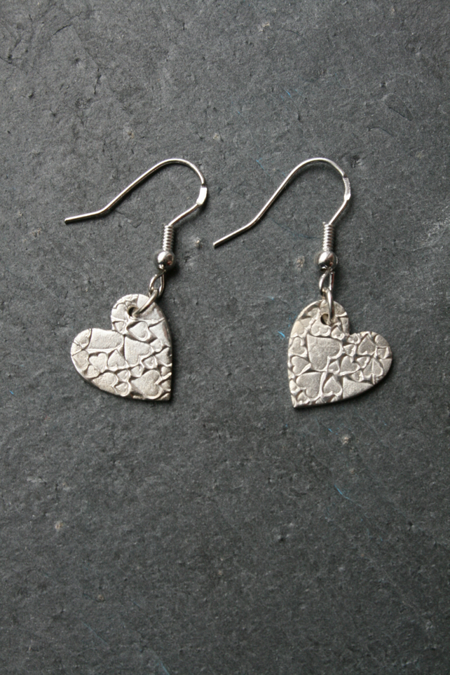 Heart of hearts silver earrings