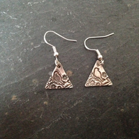 Triangular silver birdie earrings
