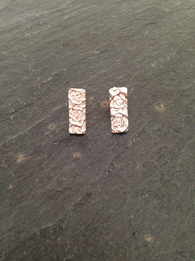 Rectangle studs with light rose and leaf print