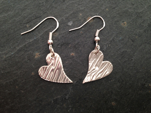 Wonky zebra print heart earrings