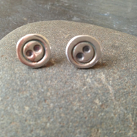 Cute as a button silver studs
