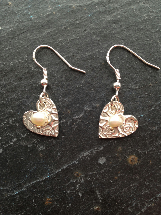 Silver rose and leaf impression heart earrings with pearl