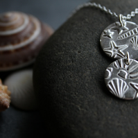 Double drop seashell impression silver necklace