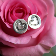 Heart impression silver studs