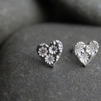 Fine silver heart studs with flower impression