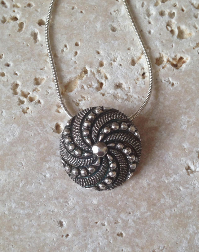 Fine silver ornate button necklace - handmade