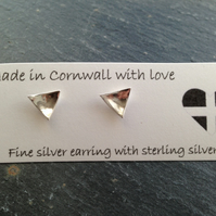 Fine silver triangular domed studs
