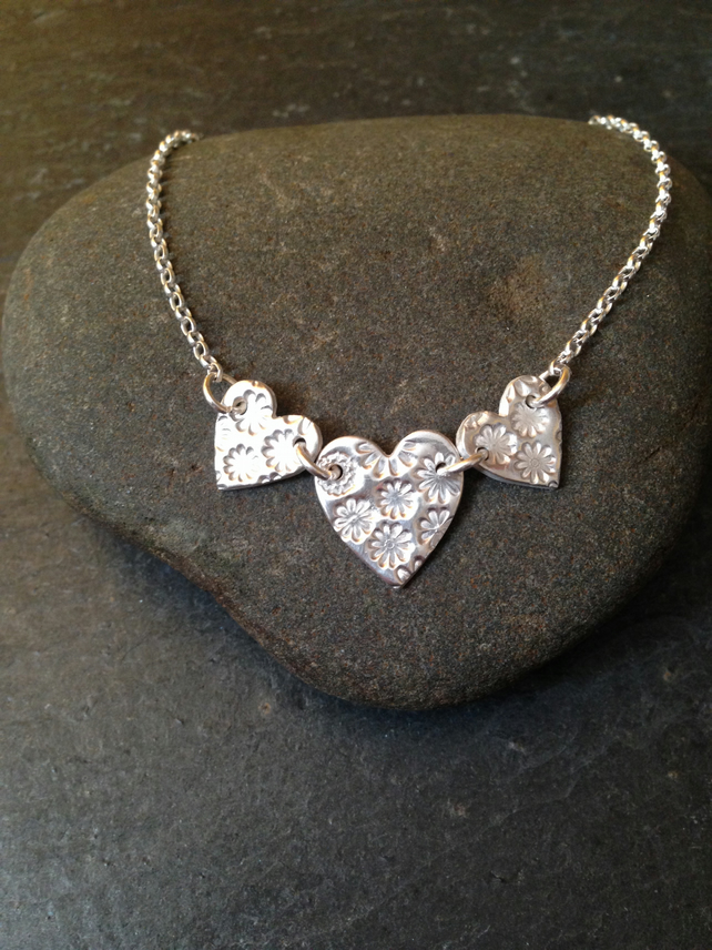 Fine silver row of hearts necklace