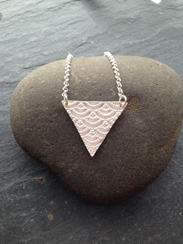 Fine silver triangle necklace