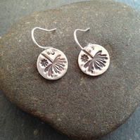 Fine silver dandelion and flower earrings