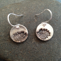 Fine silver flower embossed earrings