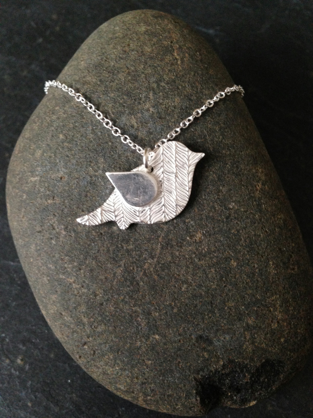 Birds of a feather silver necklace